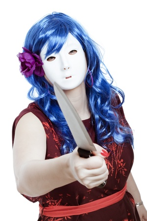 murderer: Scary horror masked woman assaulting with knife, isolated on white background.