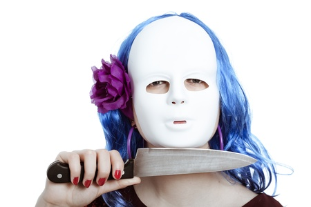murderer: Scary bizarre masked woman with knife, isolated on white background.
