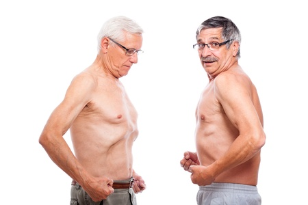 Two seniors comparing figure, isolated on white background.
