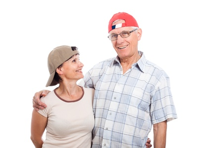 younger: Happy senior man and middle aged woman, isolated on white background. Stock Photo