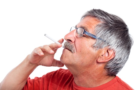 Elderly man smoking cigarette, isolated on white background.