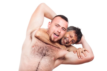 krav maga: Two funny men fighting and wrestling, isolated on white background.