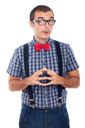 self expression: Portrait of funny curious nerd man, isolated on white background. Stock Photo
