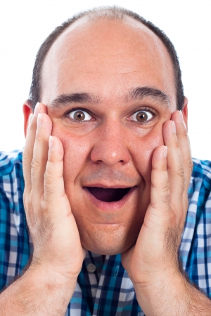 Close up of happy excited man face, isolated on white background. Stock Photo - 15152748