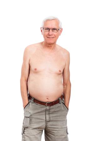 hombre sin camisa: Retrato de hombre sin camisa feliz sonriendo altos, aislados en fondo blanco. Foto de archivo