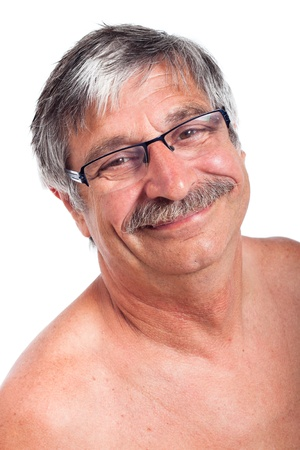 Close up of happy smiling senior man, isolated on white background.