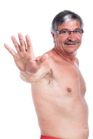 Happy shirtless senior man gesturing with hand, isolated on white background. photo
