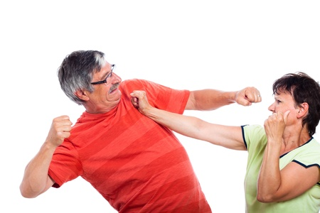 Domestic violence concept, image of couple fighting, isolated on white background. photo
