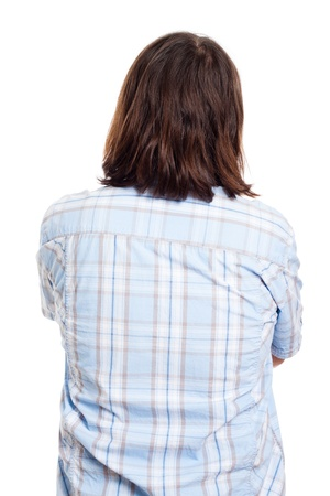 man with long hair: Back side view of long haired man in shirt, isolated on white background.