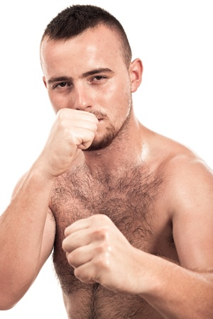 Portrait of young shirtless male boxer, isolated on white background. Stock Photo - 15572378