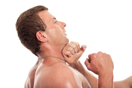 punched: Close up of man boxing, isolated on white background.
