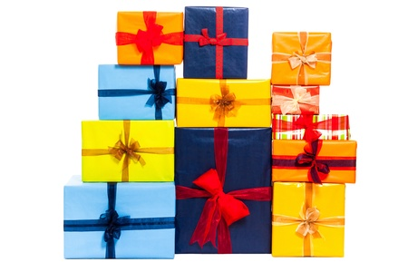 Colorful gift boxes with ribbon, isolated on white background