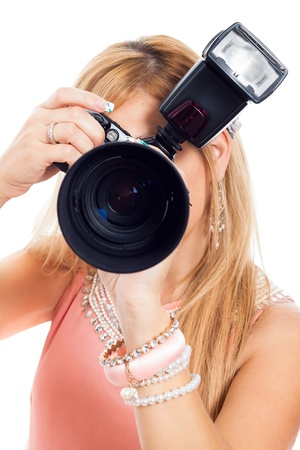 slr cameras: Close up of female photographer, isolated on white background.