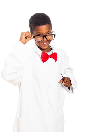 Cute happy clever scientist school boy, isolated on white background.