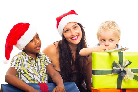 Happy woman with children celebrating Christmas, isolated on white background. Stock Photo - 16250151