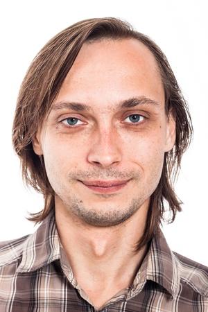 mugshot: Portrait of weirdo man, isolated on white background.