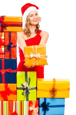 Young happy Christmas woman holding gift box, isolated on white background. Stock Photo - 16522464