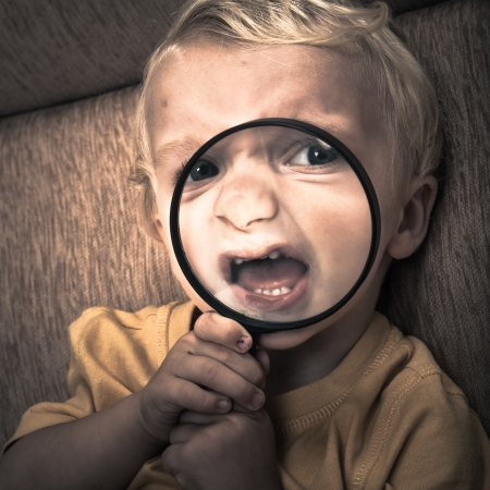 Close up of scary horror child boy face. Stock Photo - 16960459