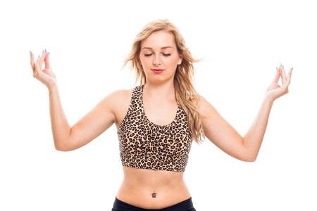 Young attractive woman yoga exercise, isolated on white background. photo