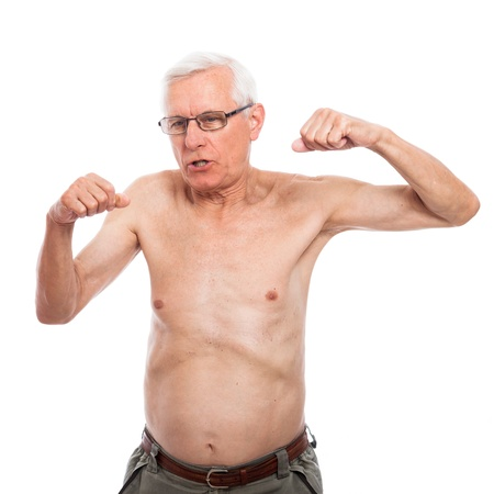 Shirtless senior man gesturing and showing body, isolated on white background. photo