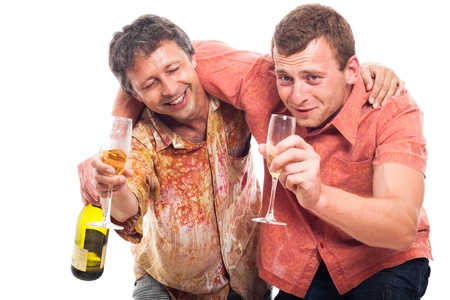 Two funny drunken men holding bottle and glass of alcohol, isolated on white background.