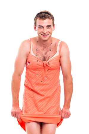 shemale: Funny transvestite man cross-dressing, isolated on white background.