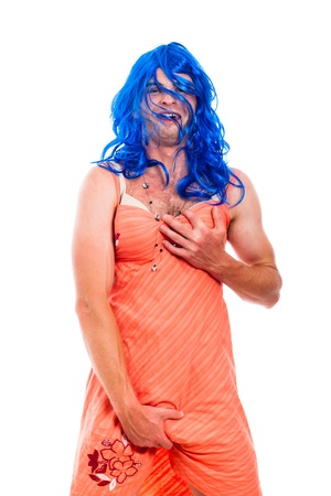 Portrait of hilarious transvestite man cross-dressing, isolated on white background. photo