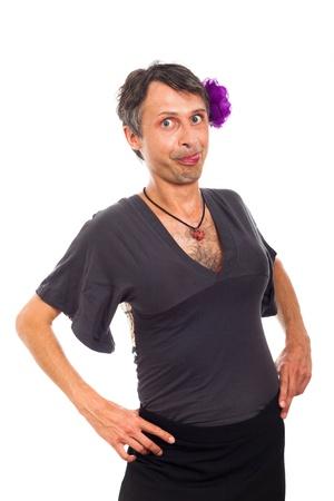 weirdo: Portrait of transvestite man making funny faces, isolated on white background.