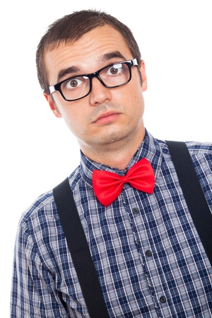 egghead: Close up of serious surprised nerd man looking, isolated on white background.