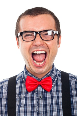 Close up of crazy funny nerd man laughing, isolated on white background. photo