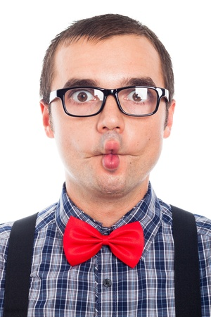 Close up of crazy nerd man making funny face, isolated on white background. Stock Photo - 17133780