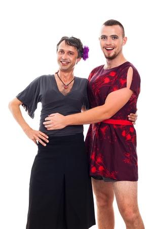 hombres gays: Retrato de dos travestis felices travestismo-, aislados en fondo blanco. Foto de archivo