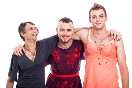 travesty: Happy transvestites cross-dressing, isolated on white background.