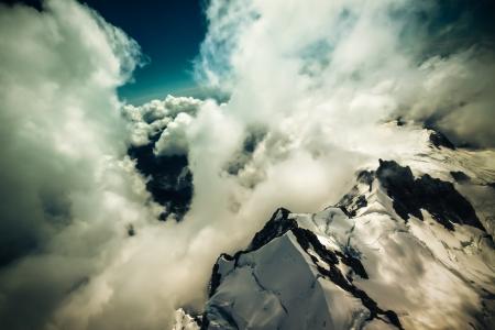 Aerial photo of beautiful cloudscape above Mount Cook National Park in New Zealand. photo