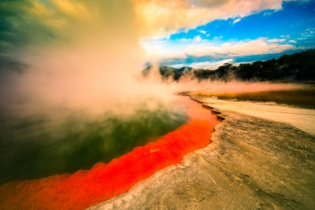Beautiful colourful Champagne Pool at geothermal area in Wai-O-Tapu, Rotorua, North Island, New Zealand. photo