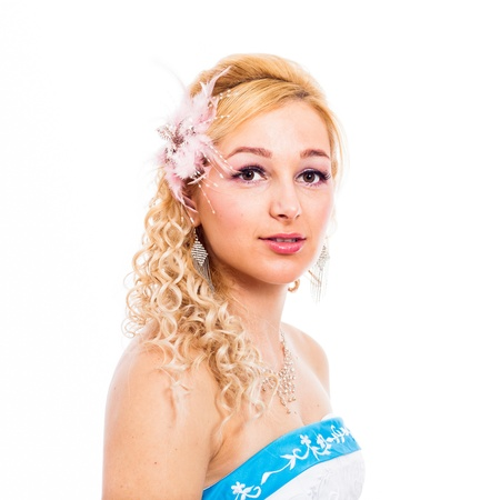 rumanian: Wedding portrait of young blond beautiful bride, isolated on white background. Stock Photo