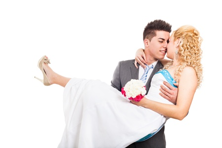 rumanian: Young happy wedding couple in love, isolated on white background.