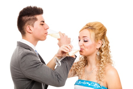 rumanian: Wedding couple with glass of wine, isolated on white background. Stock Photo