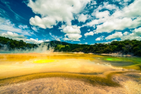 Beautiful colourful landscape at Wai-O-Tapu, Rotorua, North Island, New Zealand.