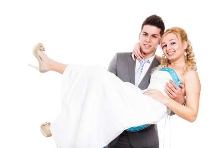 rumanian: Newly married wedding couple in love, isolated on white background