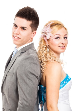 rumanian: Portrait of young wedding couple, isolated on white background