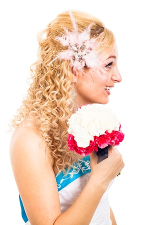 rumanian: Profile view of beautiful bride smiling with wedding bouquet, isolated on white background