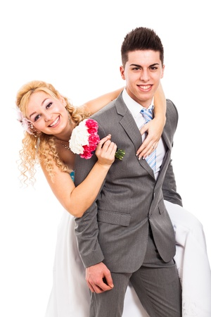 rumanian: Happy newly married wedding couple in love, isolated on white background