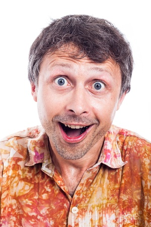 euphoria: Closeup of happy ecstatic man face, isolated on white background