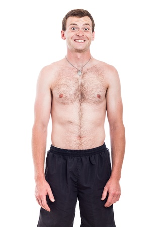 Portrait of funny shirtless man with toothy smile, isolated on white background