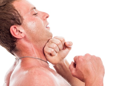 punched: Close up of man boxing, isolated on white background