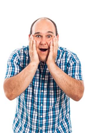cara sorprendida: Retrato de hombre sorprendido feliz, aislado en fondo blanco
