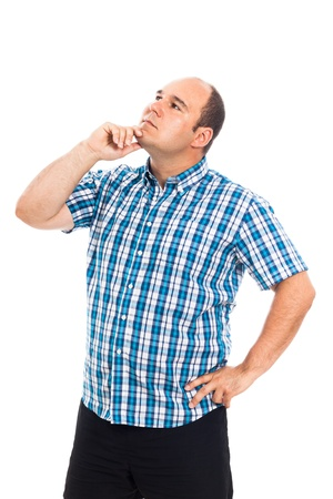 overweight man: Pensive man looking up, isolated on white background Stock Photo