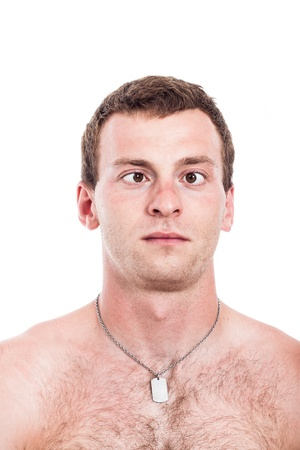 Closeup of shirtless cross-eyed man, isolated on white background photo