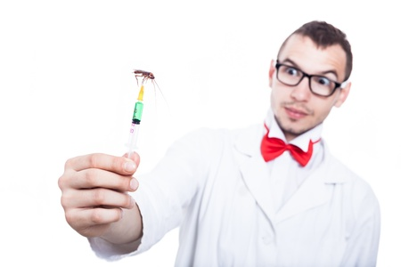 Funny scientist holding syringe with cockroach, isolated on white background photo